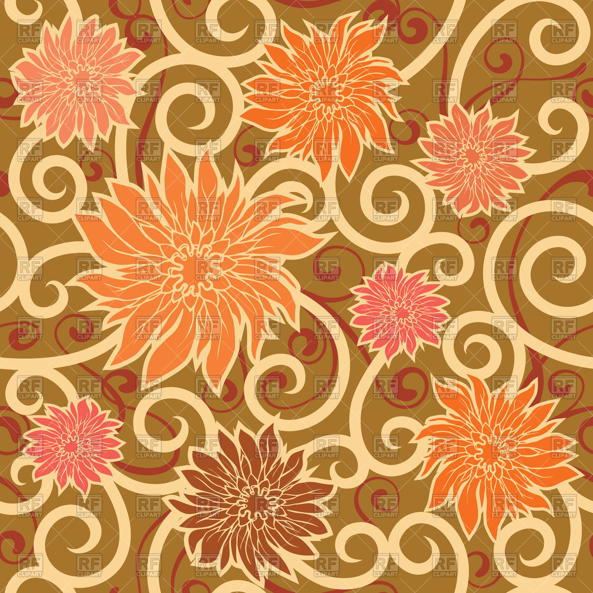 Seamless floral background with orange flowers Vector Image #64383.