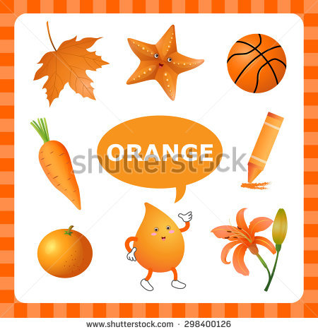 Learn Color Orange Things That Orange Stock Vector 298400126.