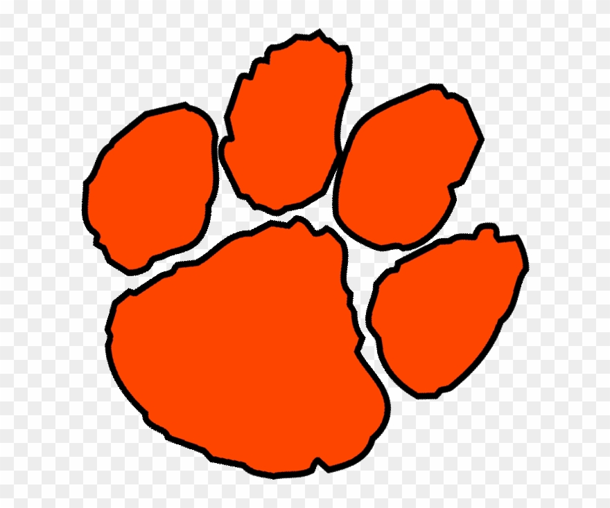 Orange Paw Print Clip Art Clemson Paw Print Vector.