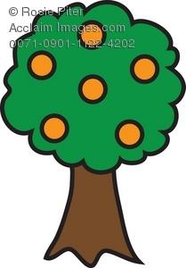 Clip Art Illustration of an Orange Tree.