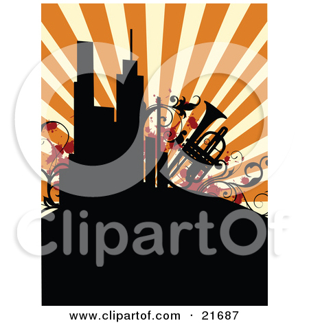 Clipart Illustration of a Guitar, Trumpet And Vines Around An.