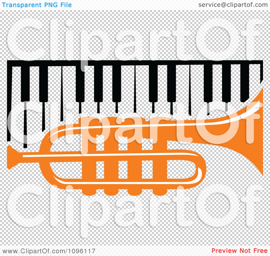 Clipart Orange Trumpet And Piano Keyboard.