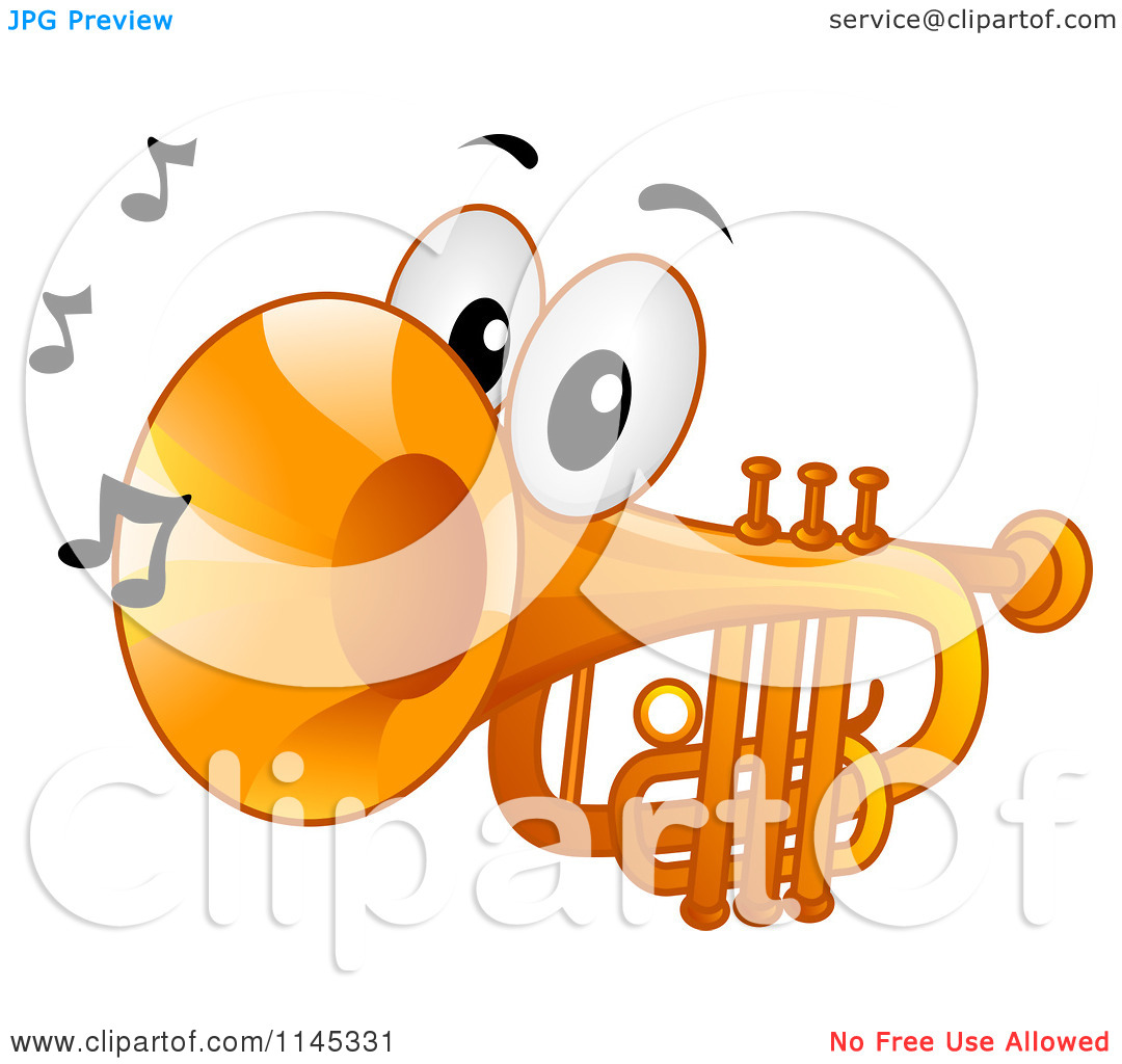 Cartoon of a Trumpet Mascot with Music Notes.