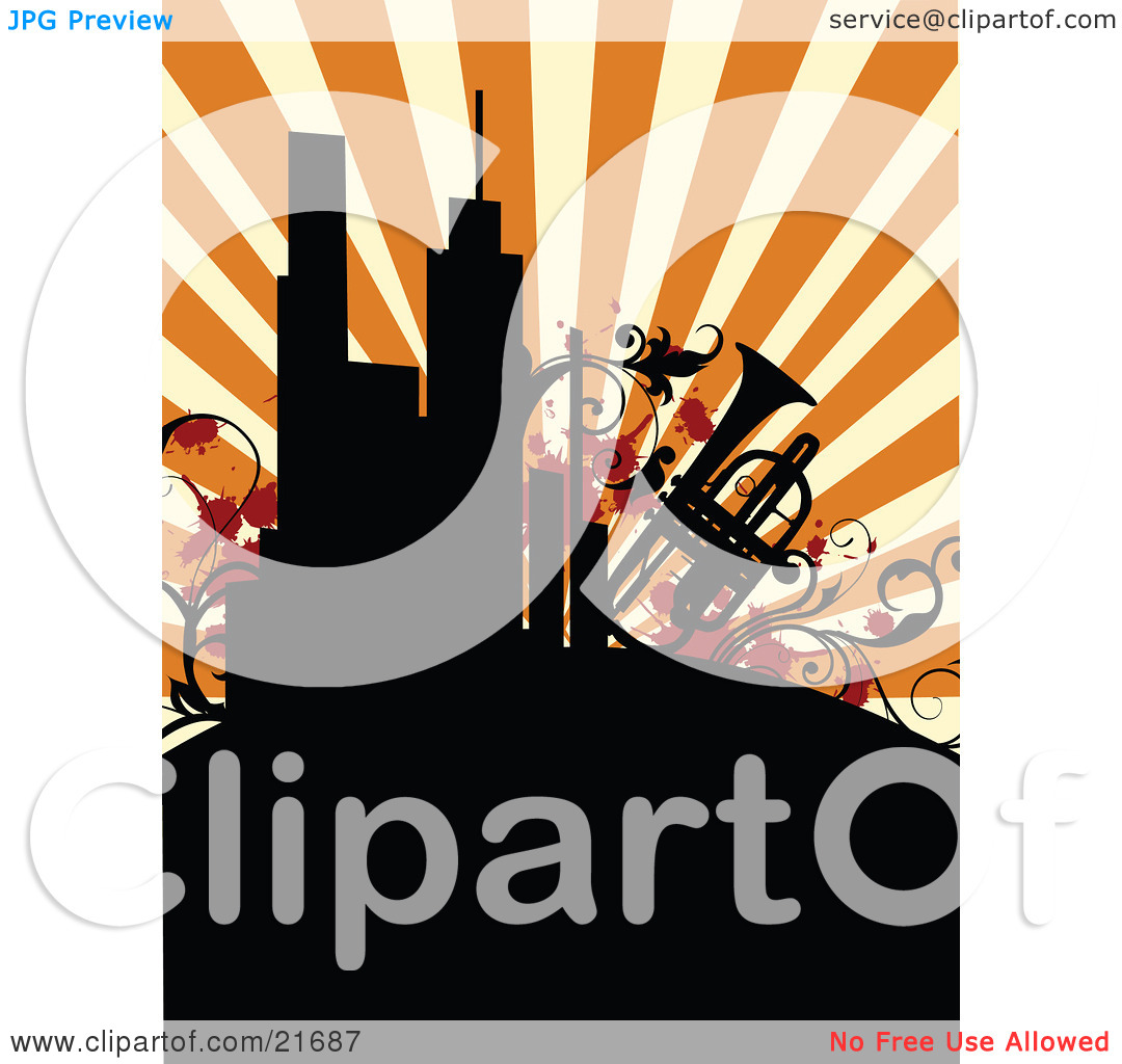 Musical Clipart Picture Illustration of a Retro Background Of.