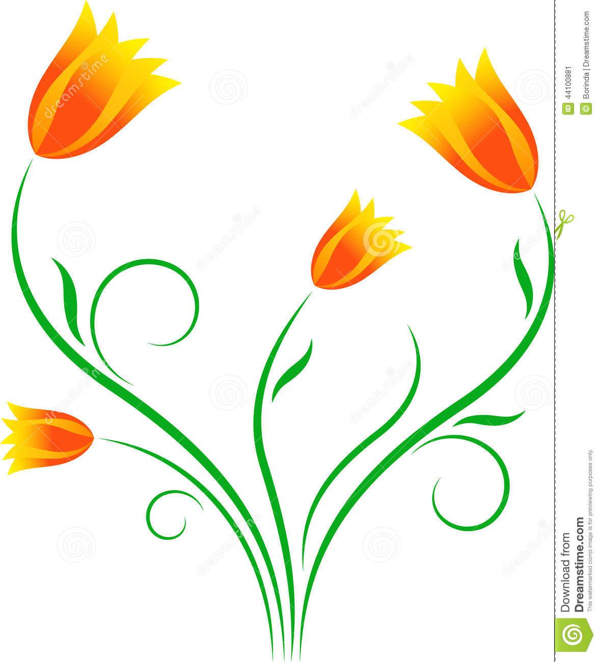 Yellow Tulips, Orange Tulips, Flowers Illustration Stock.