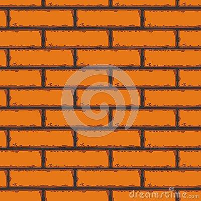 Orange Brick Wall. Vector Clip Art Stock Vector.