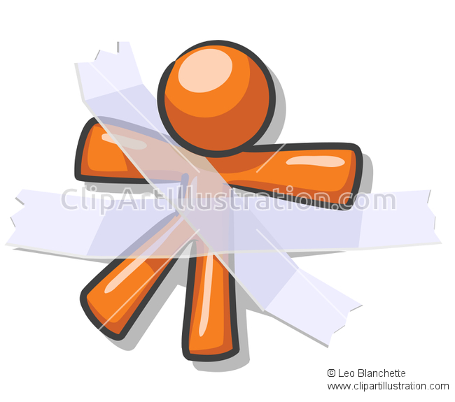 ClipArt Illustration orange man stuck to wall with tape showing.