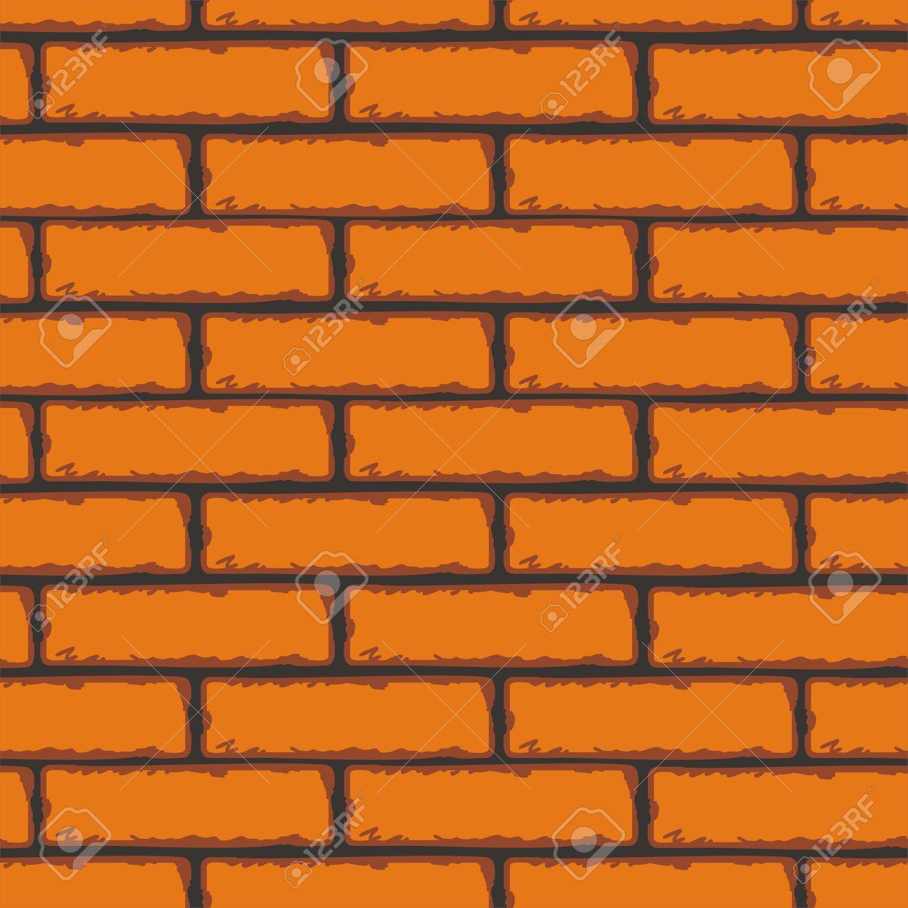 Seamless Patterns Of Brick Walls. Orange Brick Wall. Vector Clip.