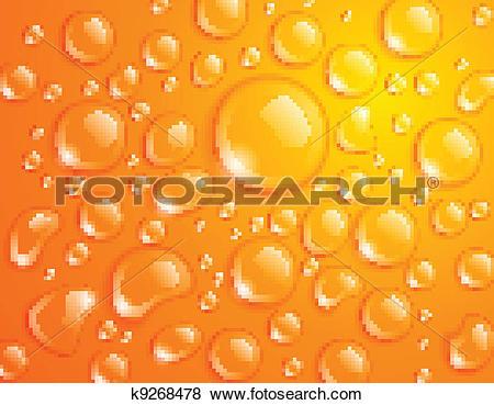 Clip Art of Orange Water Drops k9268478.