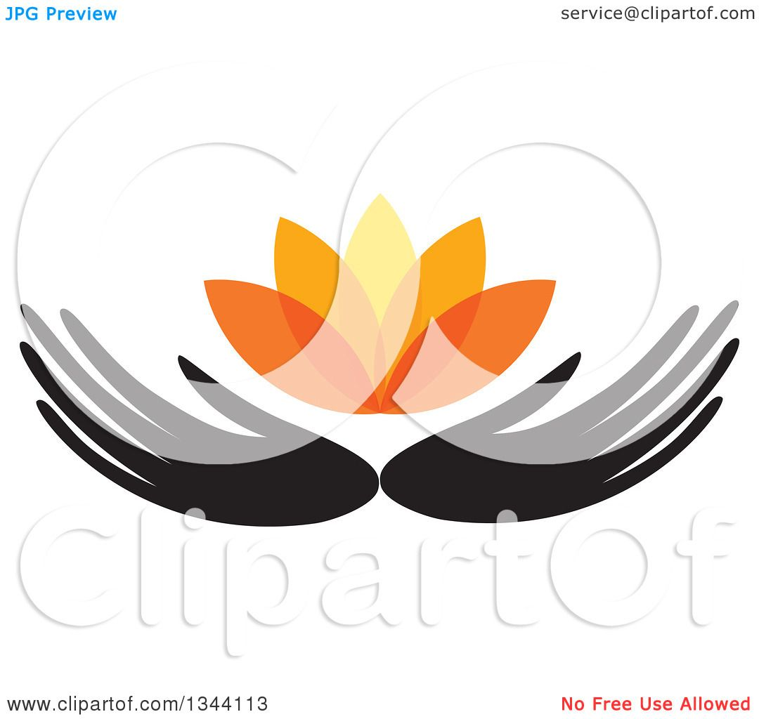Clipart of Black Hands Holding an Orange Water Lily Lotus Flower.
