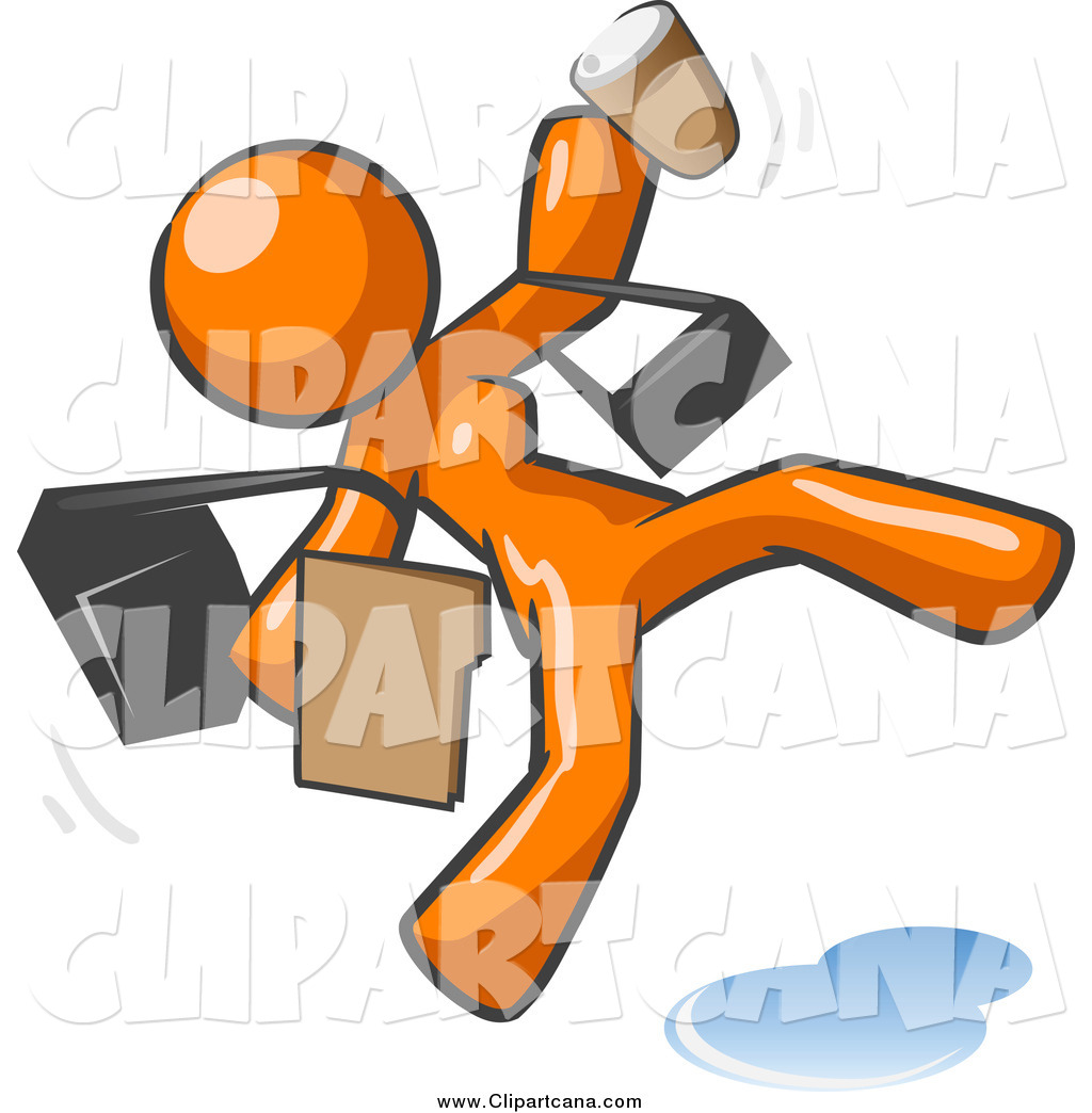 Clip Art of a Late and Rushed Orange Woman Slipping on a Puddle of.