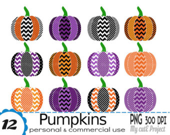 Fall Pumpkin Clipart, Autumn Clip Art for Halloween or.