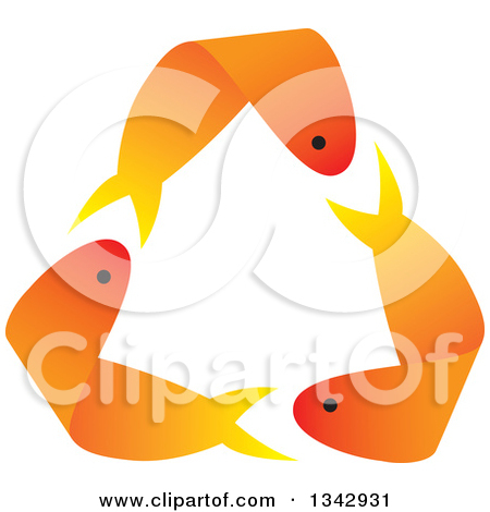 Clipart of Recycle Arrows Formed by Three Orange Gold Fish.