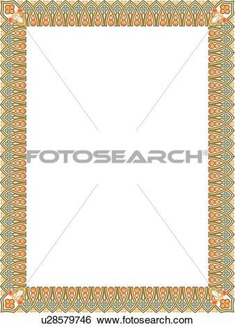 Clip Art of Orange, Gold and Teal Border u28579746.