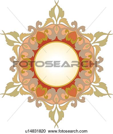 Clipart of Orange, red, green and gold floral Frame u14831820.