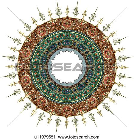 Clipart of Round red, orange, gold and green Arabesque Design.
