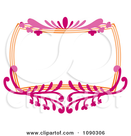 Clipart Pink And Orange Ornate Floral Frame With Copyspace.