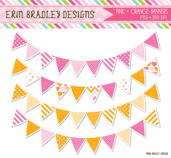 Hot pink and orange clipart.