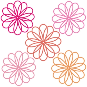 Pink and orange flower clipart.