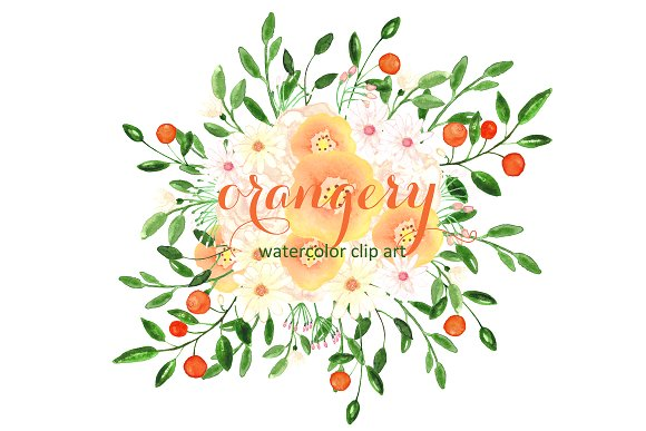 Orangery. Watercolor clip art. ~ Graphics on Creative Market.