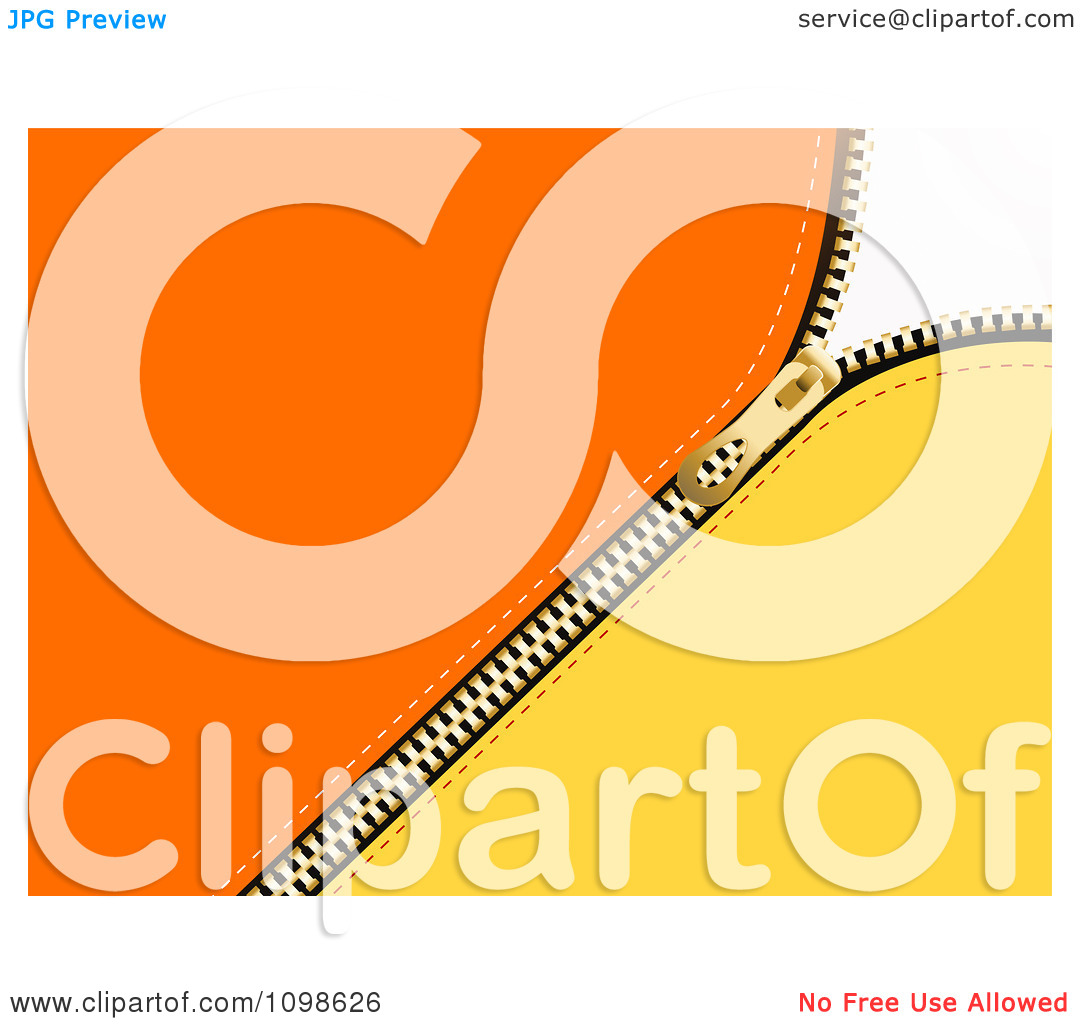 Clipart 3d Gold Zipper Parting Orange And Yellow Material.