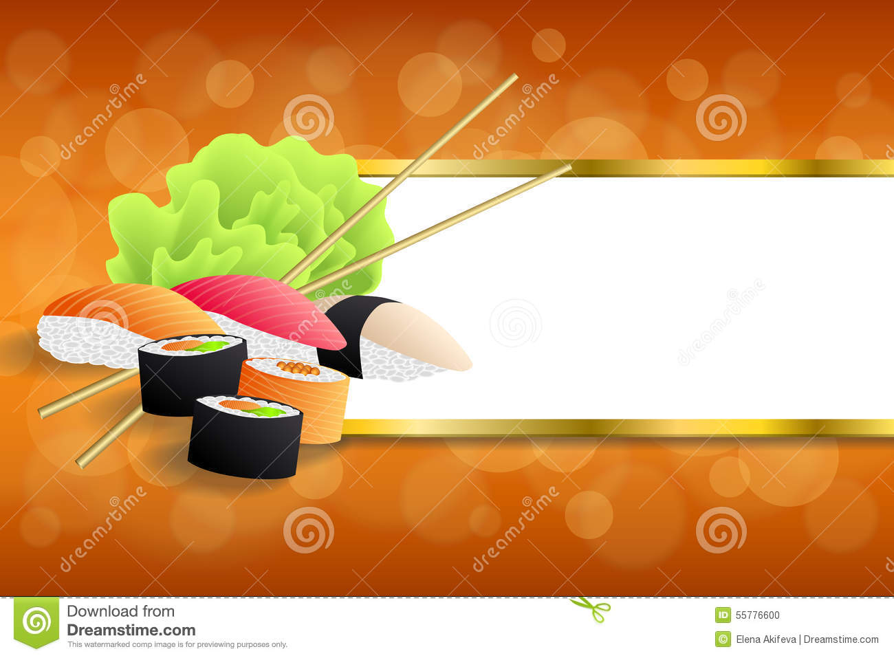 Background Abstract Food Sushi Orange Yellow Green Stripes Gold.
