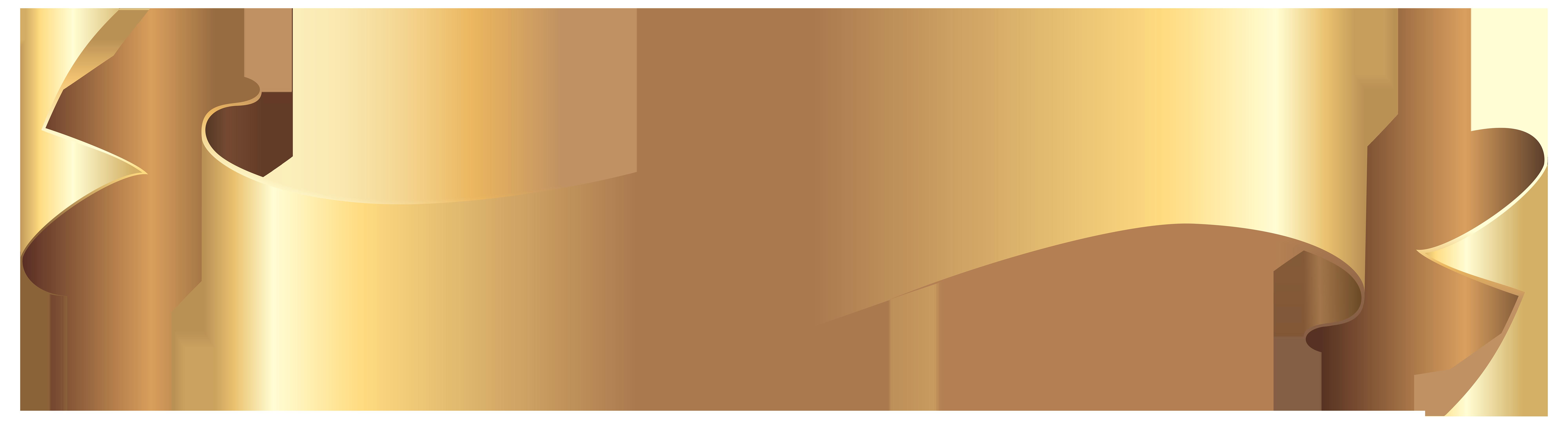 Gold Banner PNG Clip Art Image.
