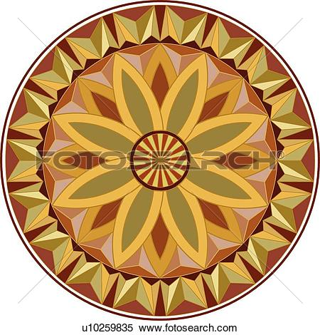 Clipart of Round red, gold, yellow and orange Arabesque Design.