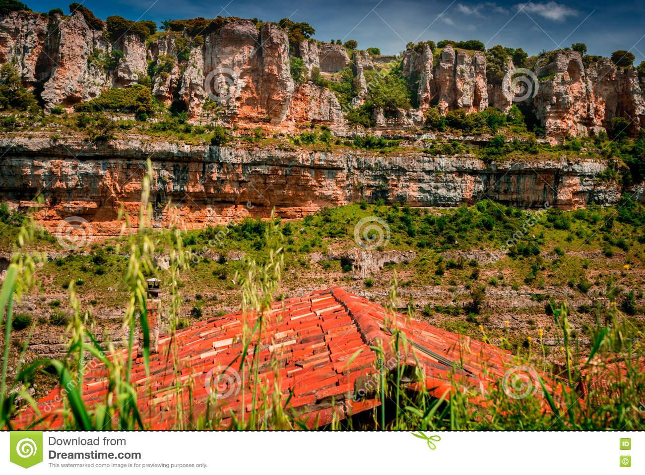 Canyon Ebro River.Orbaneja Del Castillo. Stock Photo.