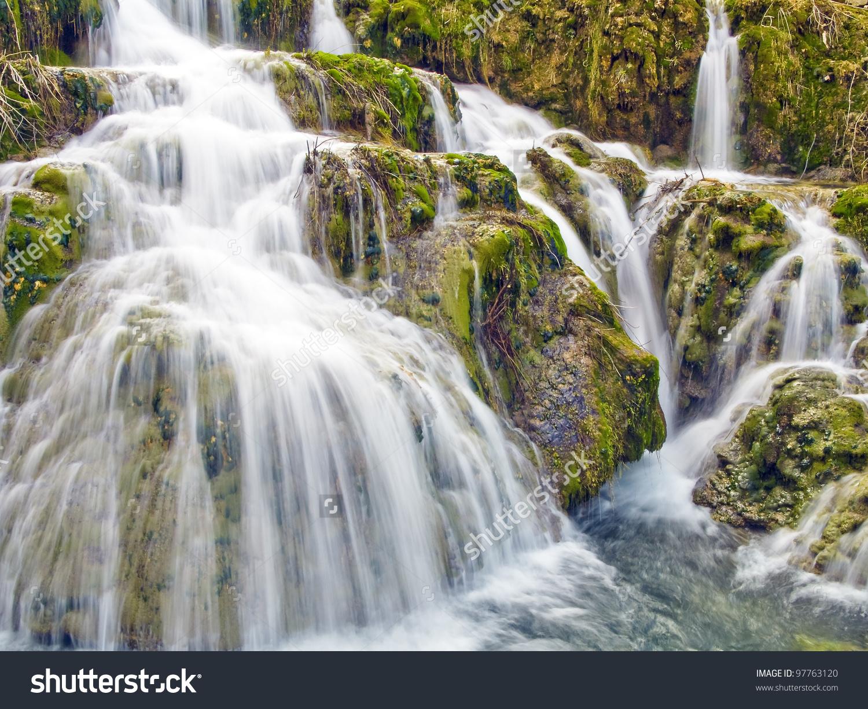 Waterfall Orbaneja Del Castillo Burgos Spain Stock Photo 97763120.