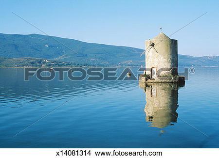 Stock Photo of Italy, Tuscany, Maremma, Laguna di Orbetello, Old.