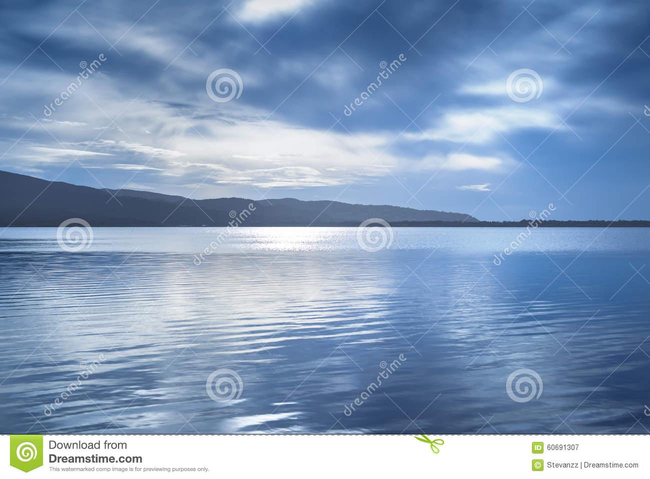 Paesaggio Del Blu Di Tramonto Laguna Di Orbetello, Argentario.