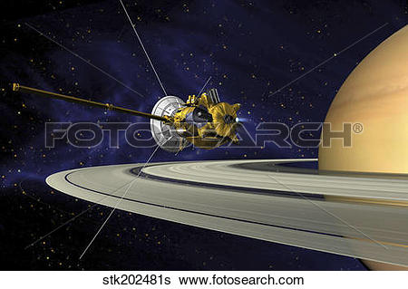 Stock Illustration of Artists concept of Cassini during the Saturn.