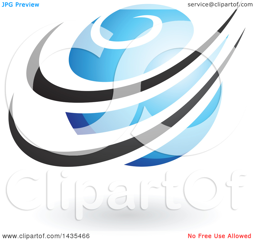 Clipart of a Blue Orbital Planet with Black Rings and a Shadow.