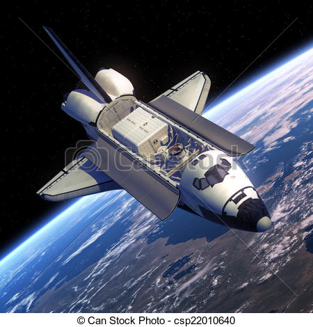 Drawing of Space Shuttle Orbiter In Space. 3D Scene. csp22010640.