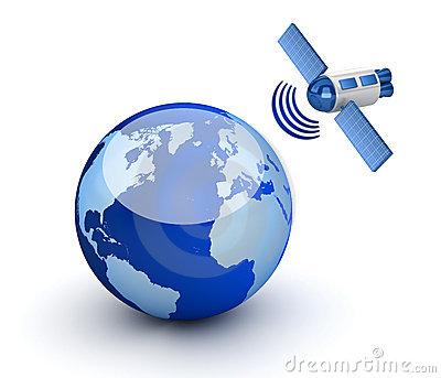 Satellite Orbiting Earth Clipart.