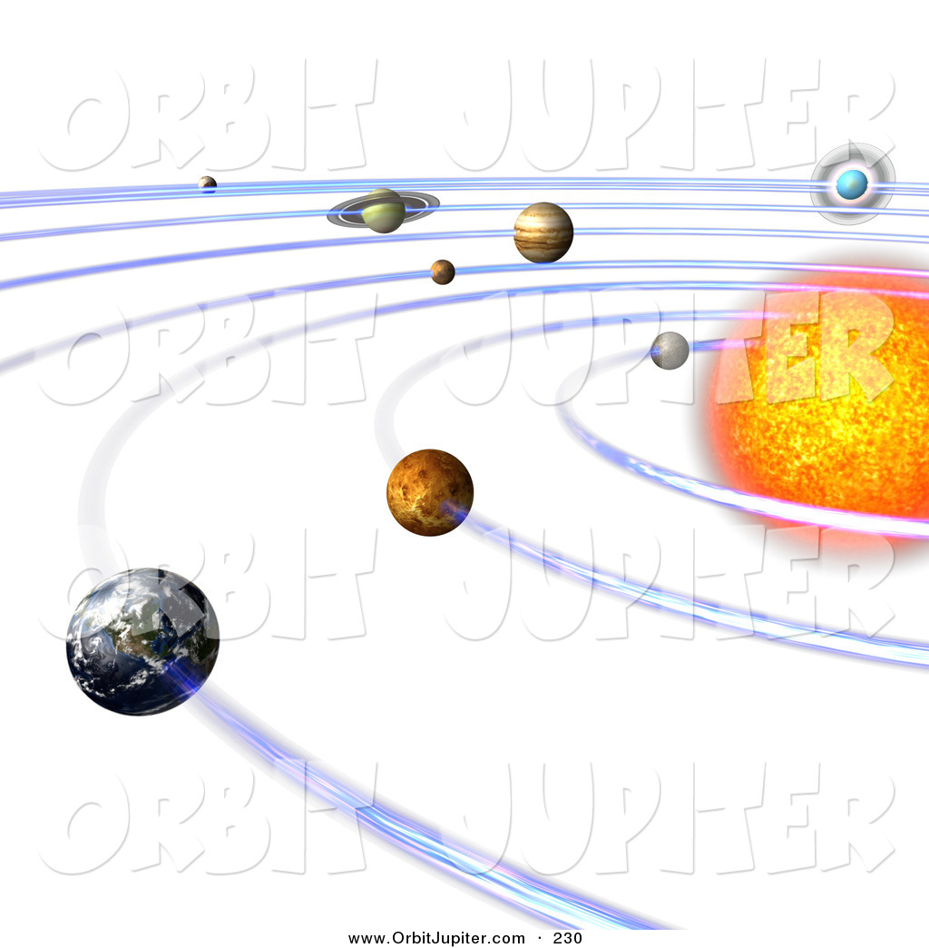 Illustration of a 3d Solar System with Orbit Lines by Ralf61.