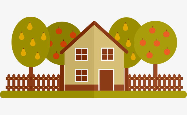 Download Free png Fruit Trees And Houses, Cartoon, Grove.