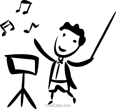 Orchestra Conductors Royalty Free Vector Clip Art.