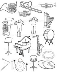 Musical Instruments:Orchestra Instruments Clip Art.