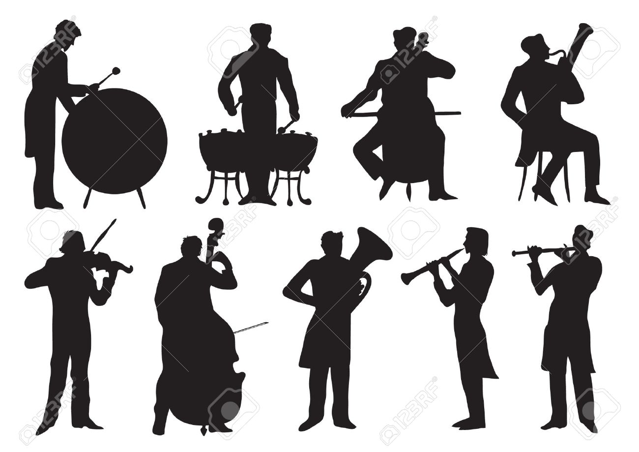 Orchestra clipart black and white.