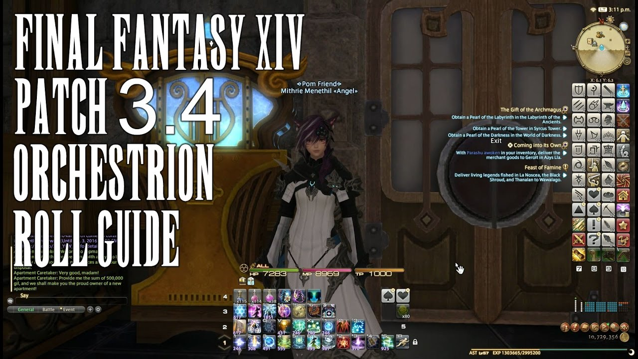 FFXIV 3.4 0947 Orchestrion Roll Guide.