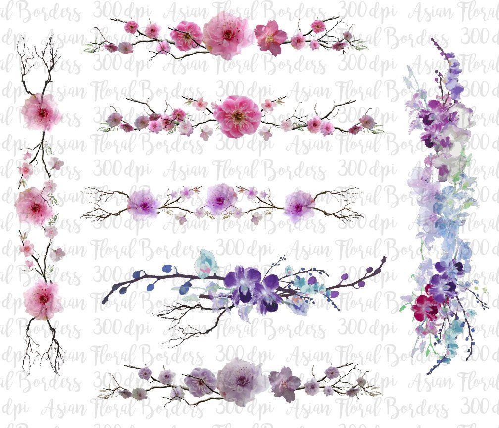 Asian Borders, Orchid borders, Cherry Blossom Digital.
