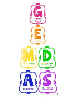 5th Grade PEMDAS/GEMDAS Poster.