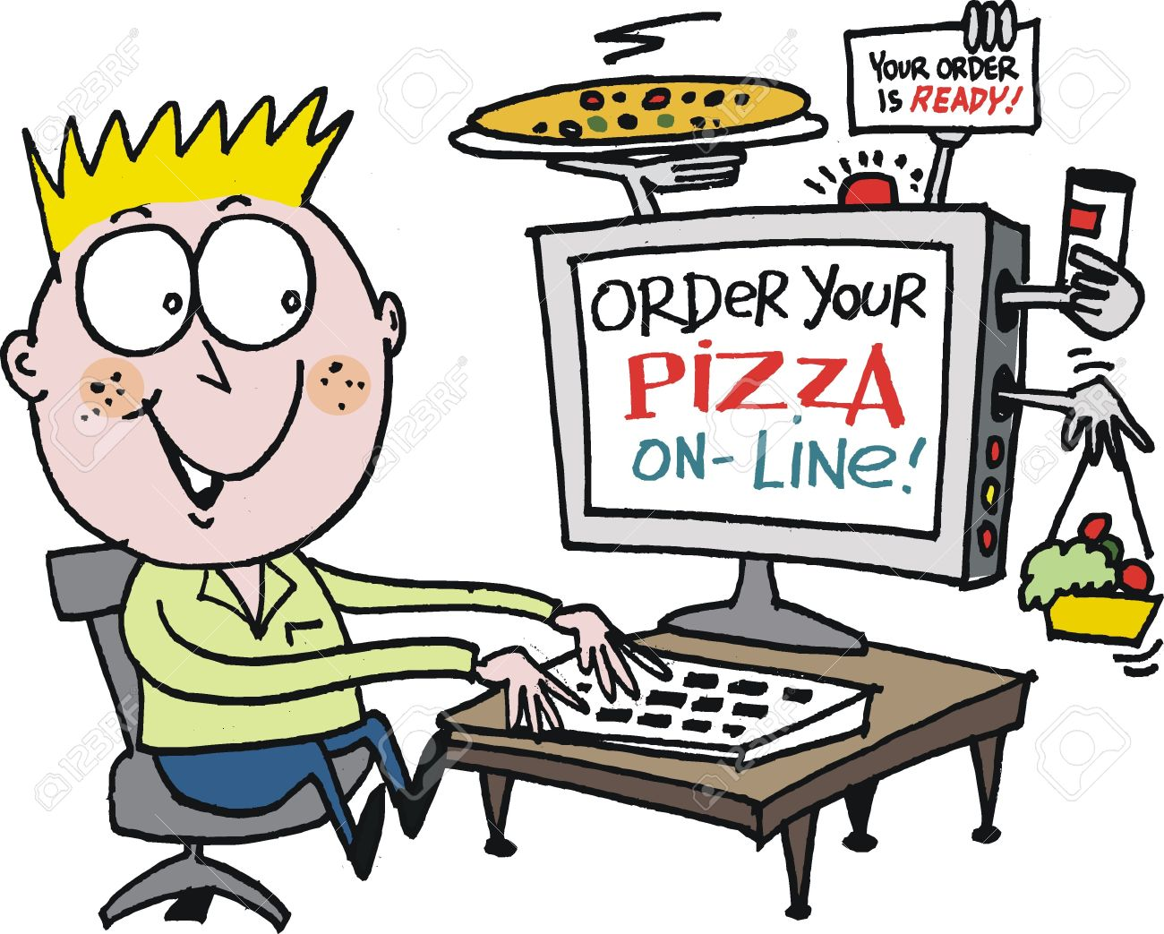 Vector Cartoon Of Boy Ordering Pizza On Internet Royalty Free.