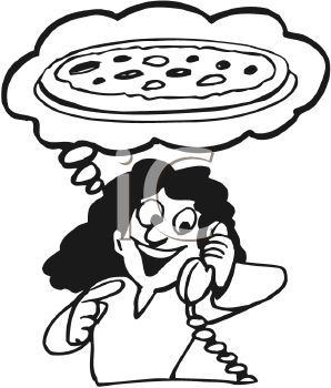 Royalty Free Clipart Image: Woman Ordering a Pizza.