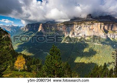 Stock Photo of View over the Ordesa Valley from Faja Pelay, Parque.