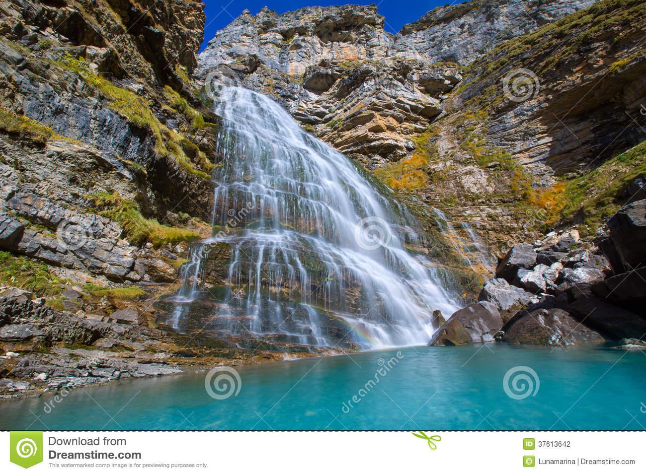 Cascada Cola De Caballo At Ordesa Valley Pyrenees Spain Stock.