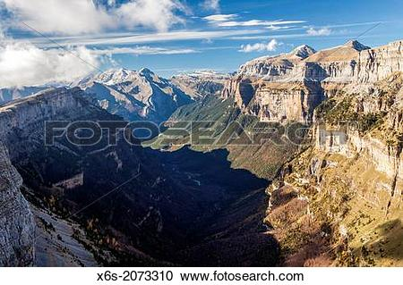 Stock Photography of Ordesa Valley from the Viewpoint area.