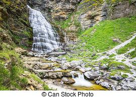 Stock Photos of Cascada Cola de Caballo at Ordesa Valley Pyrenees.